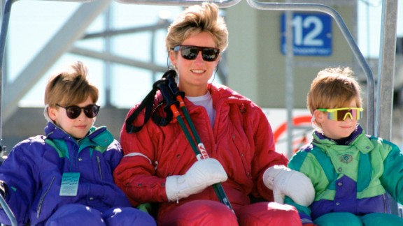 Diana and her sons go skiing in Lech, Austria, in April 1991.