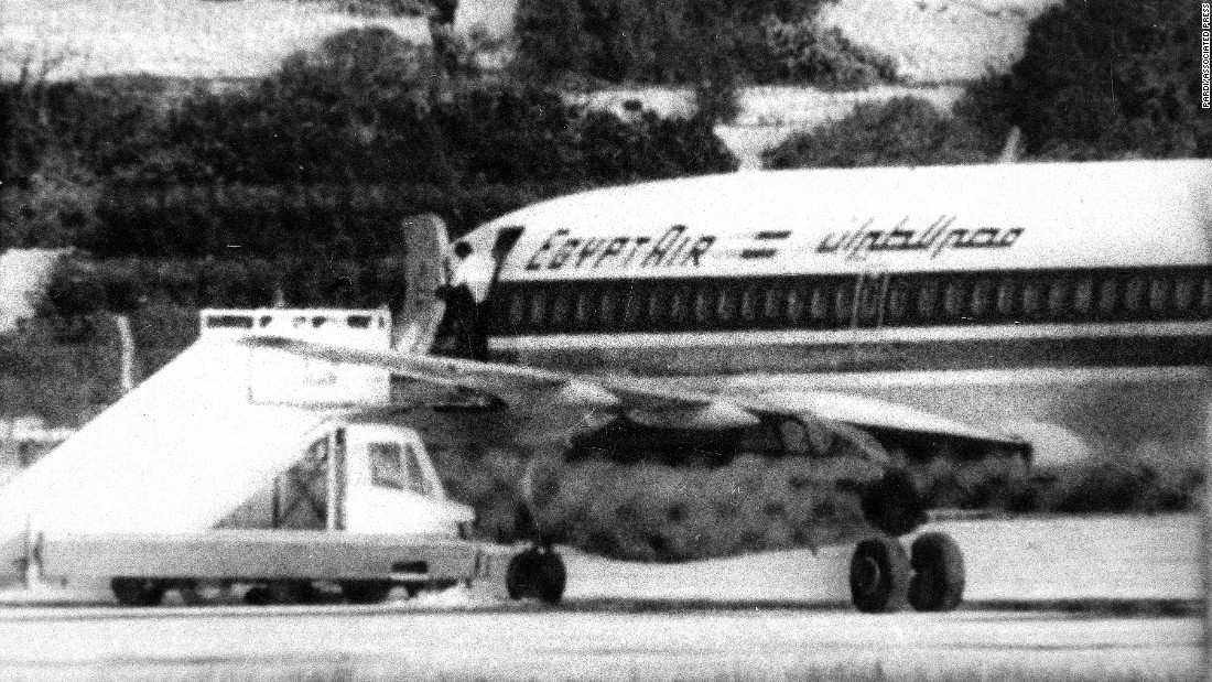 In 1985, Palestinian terrorists hijacked EgyptAir Flight 648 en route from Greece to Egypt. Hijackers allowed pilots to land the Boeing 737 in Malta for refueling -- which began a long standoff with authorities. Eventually, Egyptian  forces stormed the jet. When it was all over, 59 passengers and crew were dead including two hijackers. The remaining hijacker, Omar Rezaq, eventually served seven years in a Malta prison and was released.