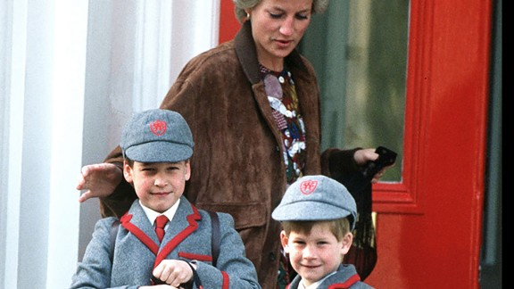 Diana and her two boys walk outside the Wetherby School in London in April 1990.