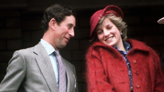 Charles and Diana attend the Grand National horse race in April 1982.