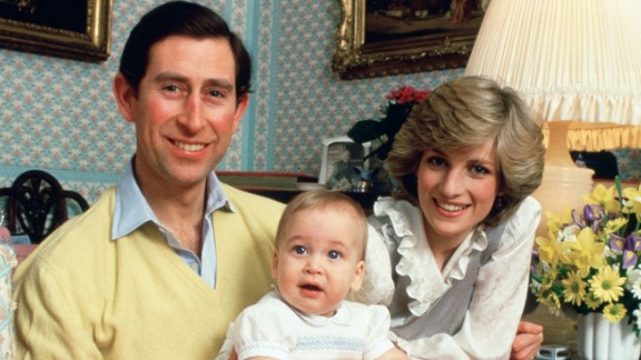 Charles, William and Diana pose for a photo at Kensington Palace in February 1983.