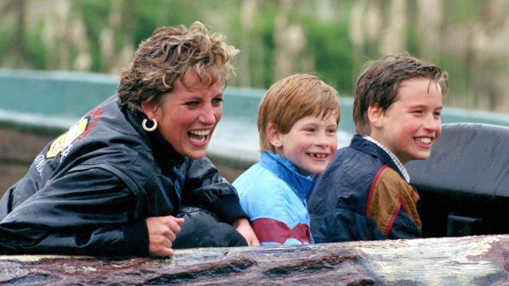 Diana and her sons visit Thorpe Park, a theme park in Surrey, England, in April 1993.