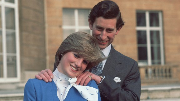 Diana and Charles pose at Buckingham Palace after the announcement of their engagement on February 24, 1981.