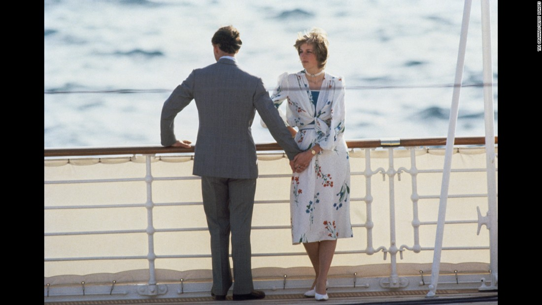 During their honeymoon, Charles and Diana leave Gibraltar on the royal yacht Britannia.