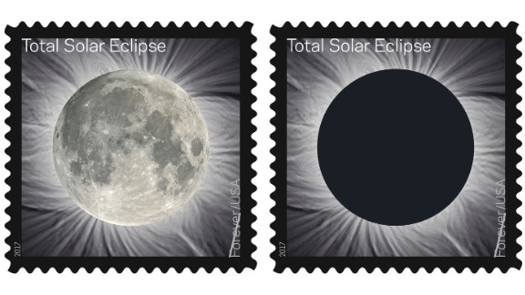 These images provided by the US Postal Service show the Total Solar Eclipse Forever stamp.