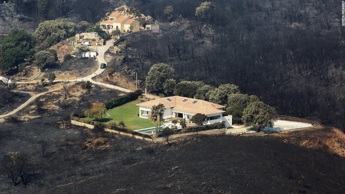 Houses are surrounded by scorched land near Biguglia, France, on the island of Corsica, on July 25.