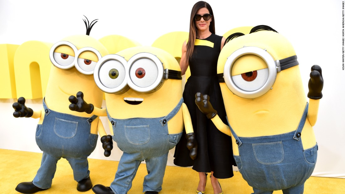 "Bullock, who voices Scarlet Overkill in ""Minions,"" arrives at the premiere of the ""Despicable Me"" spin-off in June 2015."