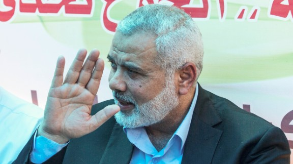 Newly elected Hamas chief, Ismail Haniya, gestures as he meets with protesters taking part in a sit-in in support of Palestinian hunger-striking prisoners held in Israeli jails, on May 8, 2017, in Gaza City. (Photo credit: MAHMUD HAMS/AFP/Getty Images)