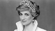 "Princess Diana, Princess of Wales . Pictured in 1990. The oyster pearl and sequin-encrusted white silk evening gown and matching high-collared bolero jacket by Catherine Walker, was known by the Princess as her ""Elvis Dress"""