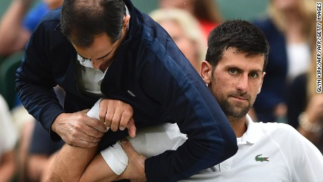 Djokovic received medical attention on court during his fourth-round match against Adrian Mannarino at Wimbledon