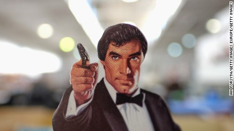 STOCKTON-ON-TEES, ENGLAND - NOVEMBER 25: A cardboard figure of actor Timothy Dalton is displayed during a James Bond memorabilia auction on November 25, 2015 in Stockton-on-Tees, England. Around 700 lots of collectables spanning every James Bond film produced to date were represented at the sale, held to coincide with the latest James Bond film, Spectre. (Photo by Ian Forsyth/Getty Images)