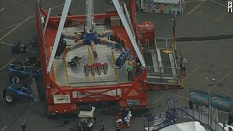 An aerial photograph of the Fire Ball ride at the Ohio State Fair on July 26.