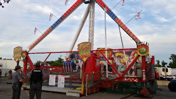 The Fire Ball amusement ride after it malfunctioned at the Ohio State Fair.
