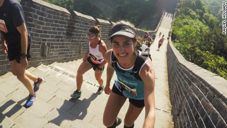 Raquel Holgado is all smiles during the 2017 Great Wall Marathon