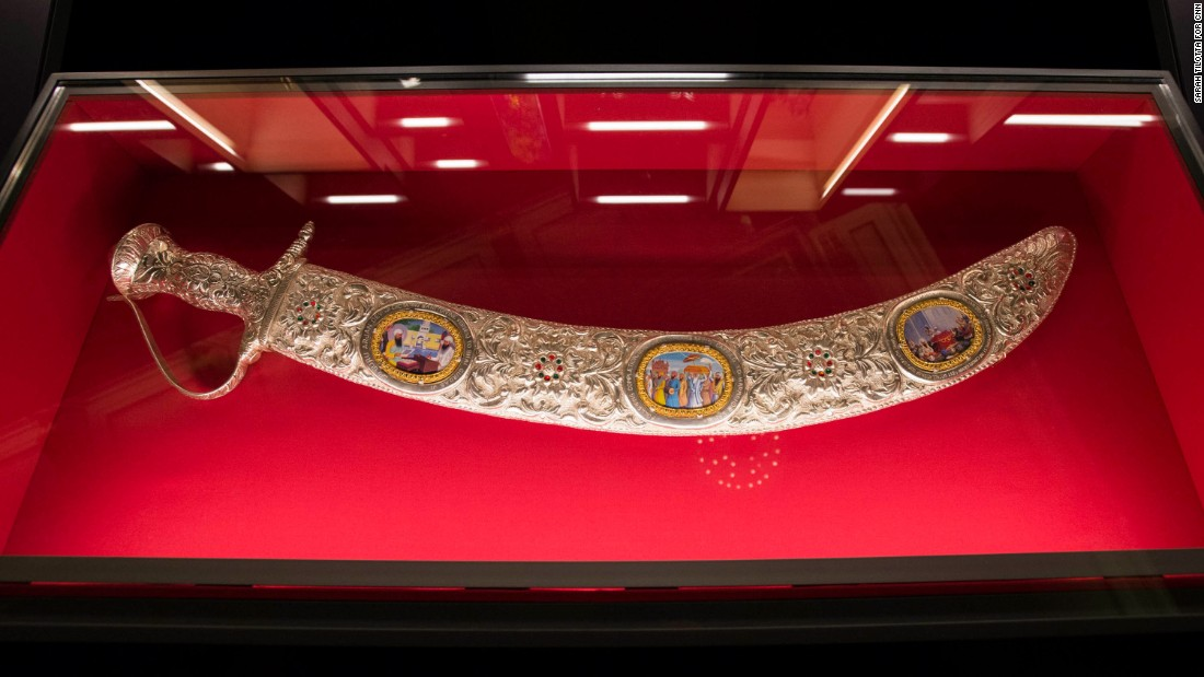 This sword and scabbard were made in Punjab, India, but they were presented to the Queen by subjects a little closer to home: the largest Sikh temple in the UK, London's Gurdwara Sri Guru Singh Sabha.