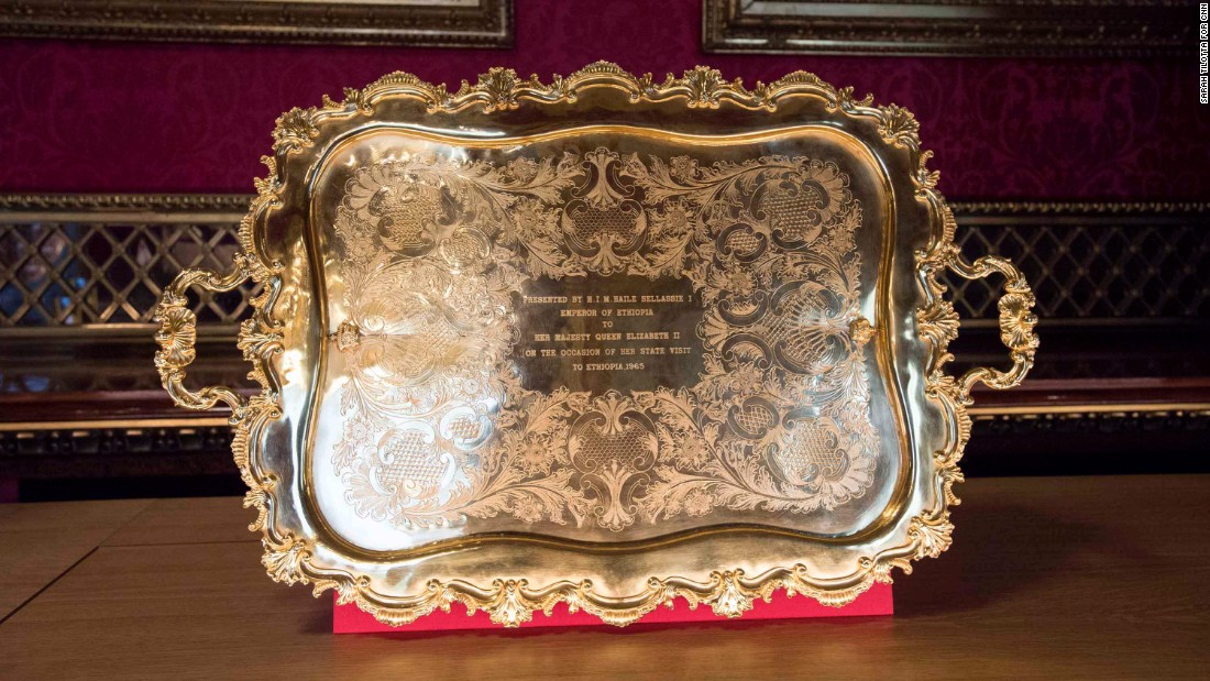 Ethiopian Emperor Haile Selassie presented this plate to the Queen when she visited in 1965.
