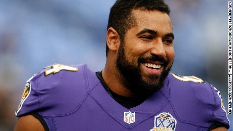 Baltimore Ravens offensive lineman John Urschel before a game against the San Diego Chargers at M&T Bank Stadium on November 1, 2015 in Baltimore, Maryland.