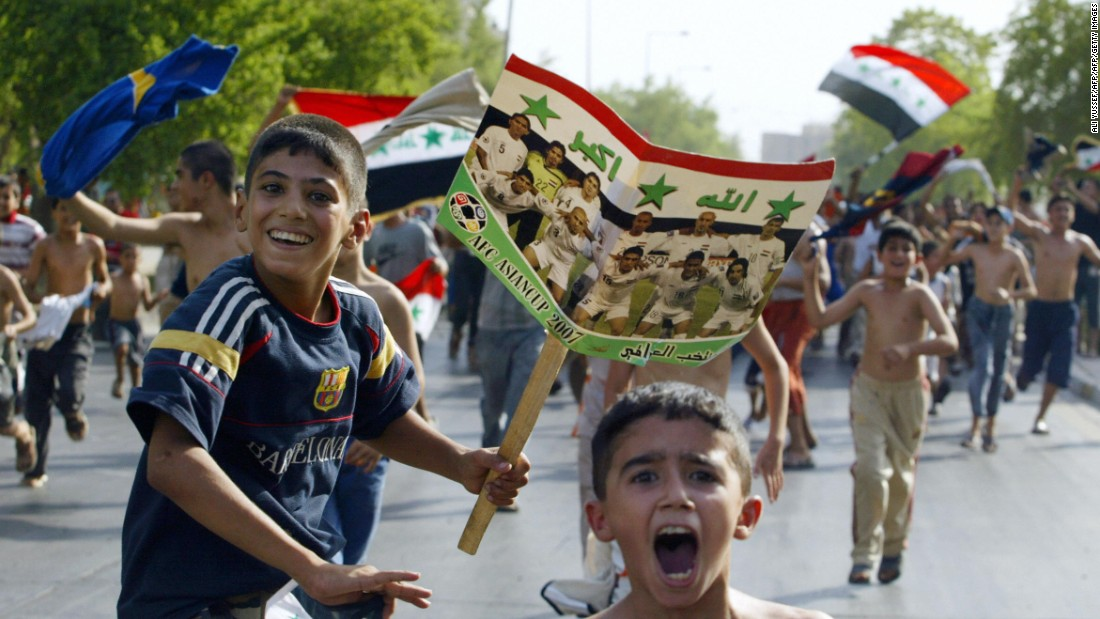 Thousands poured out on to the streets in Iraq to celebrate the remarkable and unlikely triumph.