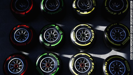 MONTMELO, SPAIN - MARCH 10: Pirelli tyres in the Paddock for Red Bull Racing during the final day of Formula One winter testing at Circuit de Catalunya on March 10, 2017 in Montmelo, Spain.  (Photo by Mark Thompson/Getty Images)