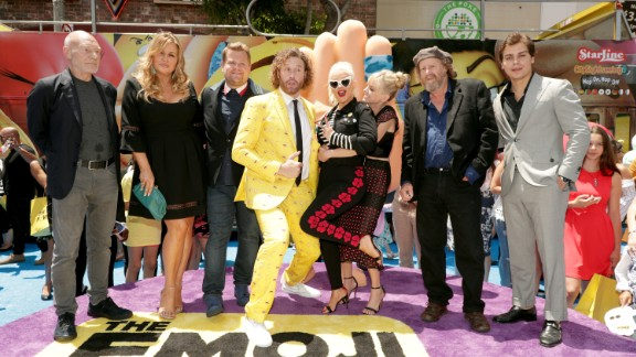 LOS ANGELES, CA - July 23, 2017: Patrick Stewart, Jennifer Coolidge, James Corden, T. J. Miller, Christina Aguilera, Anna Faris, Jake T. Austin, Steven Wright at the World Premiere of Columbia Pictures and Sony Pictures Animation ÒThe Emoji MovieÓ.