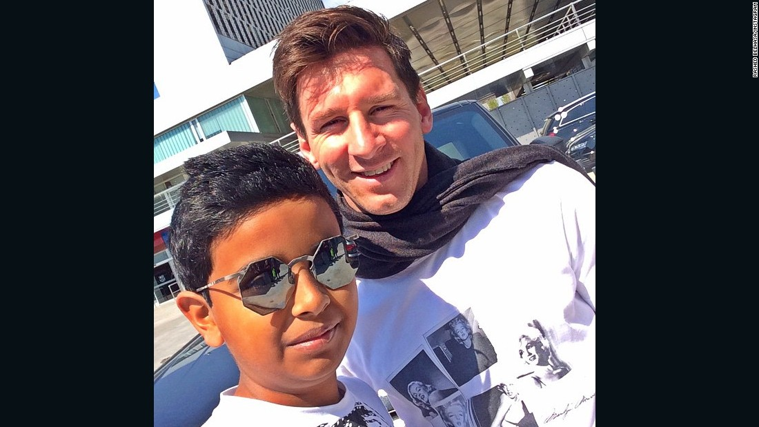 Belhasa and footballer Lionel Messi. The teenager's Instagram feed is full of selfies with stars passing through Dubai. But the who's-who is missing one name: Michael Jordan, Belhasa's hero and the name attached to some of his most prized sneakers.