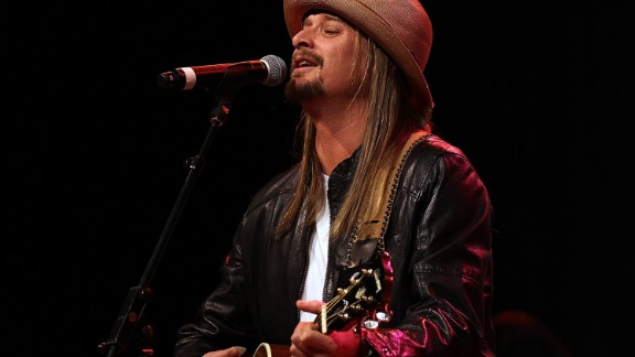 ROYAL OAK, MI - FEBRUARY 27:  Musician Kid Rock performs during a campaign rally for Republican presidential candidate and former Massachusetts Gov. Mitt Romney at the Royal Oak Theatre on February 27, 2012 in Royal Oak, Michigan. Michigan residents will go to the polls on February 28 to vote for their choice in the Republican presidential race.  (Photo by Justin Sullivan/Getty Images)
