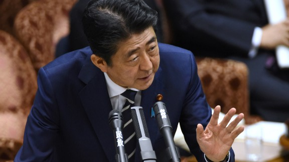 Japan's Prime Minister Shinzo Abe answers questions in parliament on July 25.