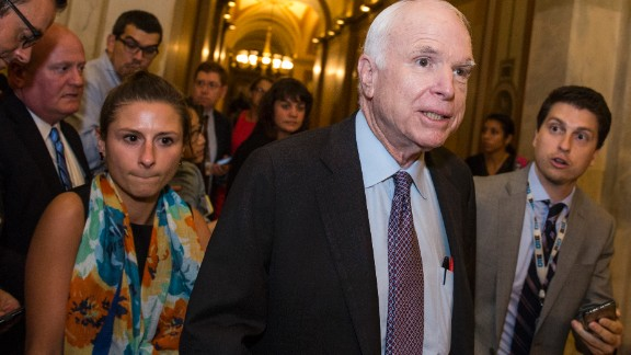 WASHINGTON, DC - JULY 27: Sen John McCain (R-AZ) leaves the Senate Chamber after a vote on a stripped-down, or