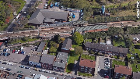 Bird's eye view of Witton station in Birmingham, England.