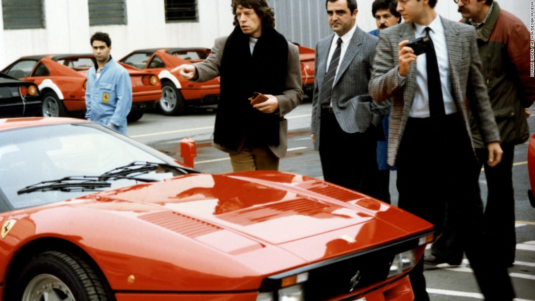 Rolling Stones frontman Mick Jagger, pictured picking up his Ferrari GTO at the factory, was another that added to the magnetism of the brand.