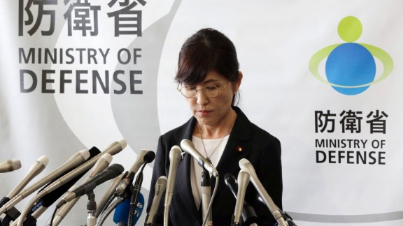 Japan's Defense Minister Tomomi Inada pauses during a news conference on her resignation.
