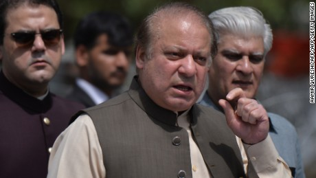Pakistan's then-Prime Minister Nawaz Sharif speaks to media after appearing before an anti-corruption commission at the Federal Judicial Academy in Islamabad on June 15, 2017.