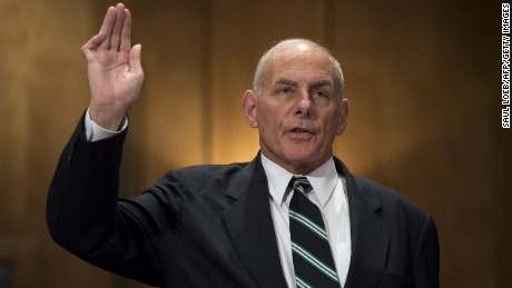 US Secretary of Homeland Security John Kelly is sworn in prior to testifying during a Senate Homeland Security and Governmental Affairs Committee hearing on Capitol Hill in Washington, DC, June 6, 2017.