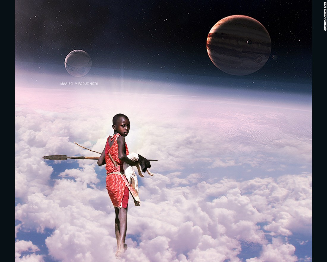 "Njeri used the Maasai to, ""provide that rich cultural aesthetic to the different science fiction themes represented in the compositions."""