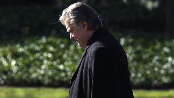 WASHINGTON, DC - FEBRUARY 24: Chief Strategist Steve Bannon walks behind U.S. President Donald Trump toward Marine One before departing from the White House on February 24, 2017 in Washington, DC. President Trump is making the short trip to National Harbor in Maryland to speak at CPAC the Conservative Political Action Conference. (Photo by Mark Wilson/Getty Images)