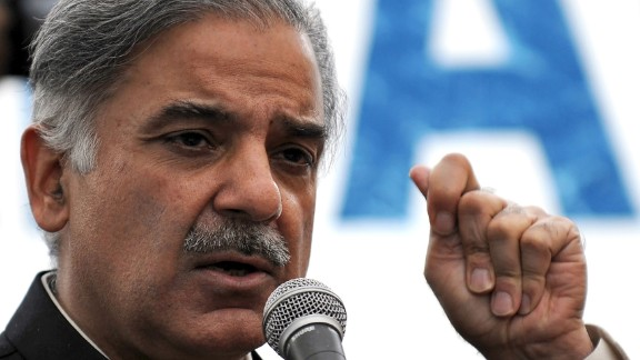 Shahbaz Sharif, addressing a news conference in 2008.