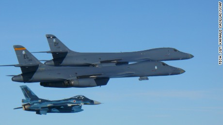 Two U.S. Air Force B-1B Lancers assigned to the 9th Expeditionary Bomb Squadron, deployed from Dyess Air Force Base, Texas, fly a 10-hour mission from Andersen Air Force Base, Guam, into Japanese airspace and over the Korean Peninsula, July 30, 2017. The B-1s first made contact with Japan Air Self-Defense Force F-2 fighter jets in Japanese airspace, then proceeded over the Korean Peninsula and were joined by South Korean F-15 fighter jets. The aircrews practiced intercept and formation training during the mission, enabling them to improve their combined capabilities and tactical skills, while also strengthening the long standing military-to-military relationships in the Indo-Asia-Pacific.(Courtesy photo)