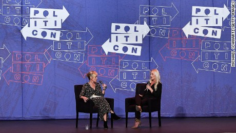 Chelsea Handler and Tomi Lahren speak during there appearance at Politicon 2017 at Pasadena Convention Center on July 29, 2017 in Pasadena, California.