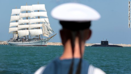 A Russian training ship, the Khersones, during a naval parade to mark Russian Navy Day in Sevastopol, Crimea.
