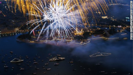Fireworks go off to mark Russian Navy Day in St. Petersburg.