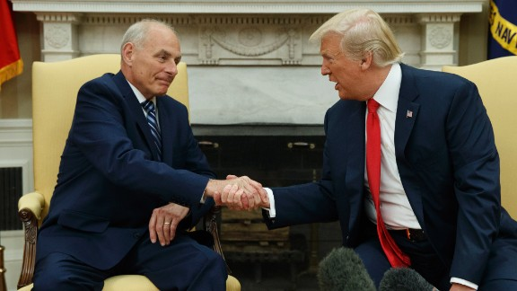 President Donald Trump talks with new White House chief of staff John Kelly after he was privately sworn in during a ceremony in the Oval Office  on Monday, July 31, 2017, in Washington.