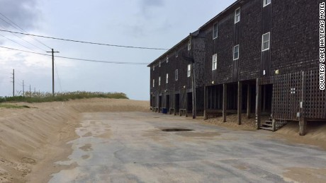 The parking lot was empty Monday at the Cape Hatteras Motel in Buxton.