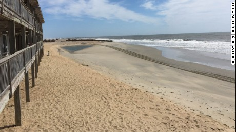 Deserted beach near the Cape Hatteras Motel in Buxton.