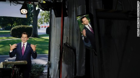 White House communications director Anthony Scaramucci speaks during a interview with CNN, Wednesday, July 26, 2017, at the White House in Washington.