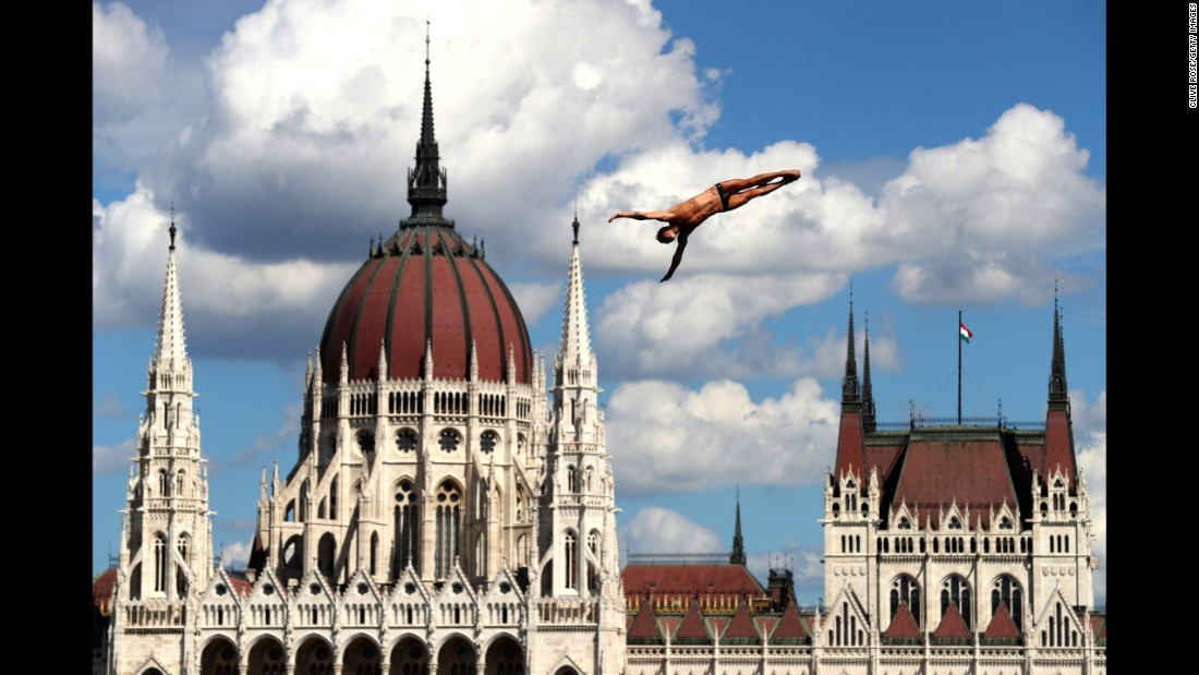 Russia's Nikita Fedotov competes in the high-dive competition at the FINA World Championships on Friday, July 28. The event took place in Budapest, Hungary.
