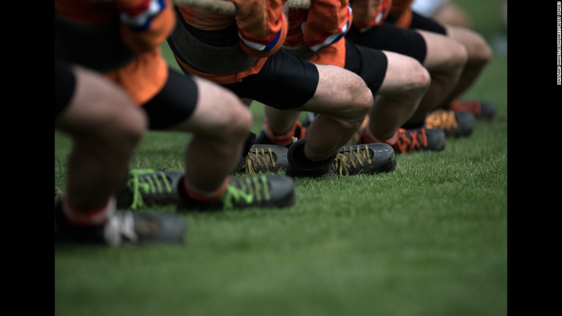 A tug-of-war team from the Netherlands warms up at the World Games on Saturday, July 29.