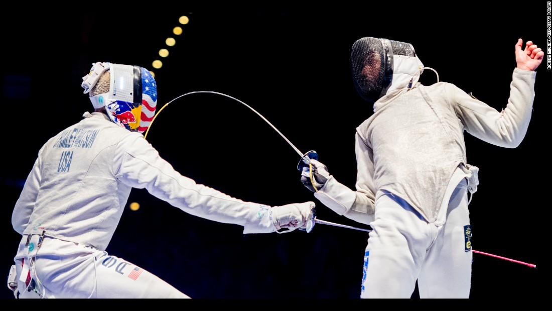Italian fencer Alessio Voconi, right, competes against American Miles Chamley-Watson at the World Fencing Championships on Wednesday, July 26. The Italians defeated the Americans in the team foil final.
