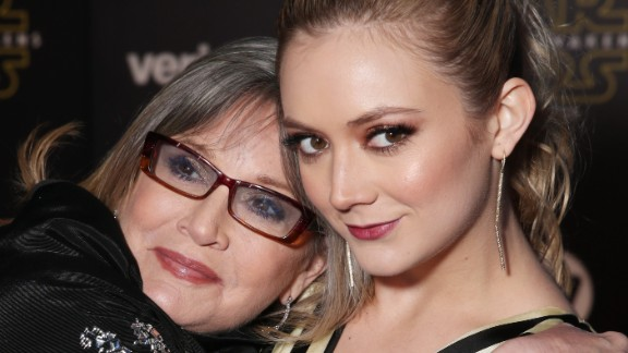 """Carrie Fisher (L) and Billie Lourd attend the premiere of """"Star Wars: The Force Awakens"""" on December 14, 2015 in Hollywood, California."""