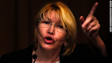 "Venezuela's Attorney General Luisa Ortega speaks during a press conference in Caracas, on July 31, 2017. Venezuela's attorney general, a vocal dissenter in President Nicolas Maduro's government, said Monday she will not recognize a new assembly voted in on the weekend, calling it an expression of ""dictatorial ambition."" / AFP PHOTO / JUAN BARRETO        (Photo credit should read JUAN BARRETO/AFP/Getty Images)"