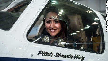 Waiz in her plane at Cairo International Airport on July 2.